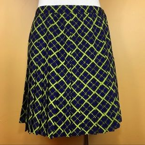 Vintage 90s Lime Green & Blue Plaid Skirt